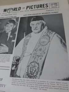 An image of Pope John XXIII appeared on the front page of the June 3, 1963, photo news sheet that was published weekly by the predecessor to today's Catholic News Service. (CNS photo)