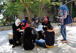 Palestinian students study on campus of Bethlehem University in this 2012 photo. (CNS photo/Debbie Hill)