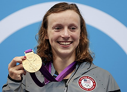 Gold medalist Katie ledecky at the 2012 Olympics in London. (CNS photo/Reuters)