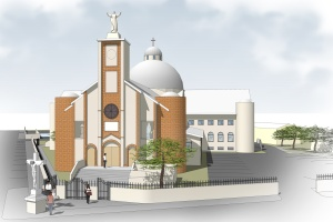 Architect drawing of the new Sacred Heart Parish in Port-au-Prince, Haiti. (CNS)