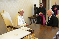 Pope Francis talks with Ken Hackett, the new U.S. ambassador to the Holy See. (CNS photo/L'Osservatore Romano)