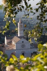 BASILICA OF ST. CLARE SEEN THROUGH TREES IN ASSISI