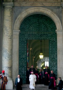 POPE WALKS DOWN STEPS OUTSIDE RESTORED BRONZE DOORS