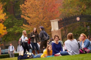 Students chat in 2012 on campus of Marquette University in Wisconsin