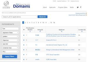 Screengrab of ICANN website listing new generic top-level domain names.
