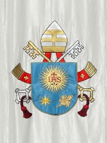 Pope Francis' coat of arms seen before Mass at Vatican