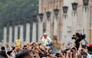 Pope greets crowd after celebrating Mass for catechists in St. Peter's Square at Vatican