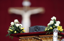 Relics of St. Peter the Apostle pictured on altar before Pope Francis celebrates Mass at St. Peter's Square at Vatican