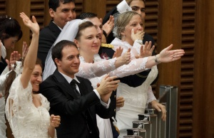 NEWLY MARRIED COUPLES GREET POPE DURING GENERAL AUDIENCE AT VATICAN