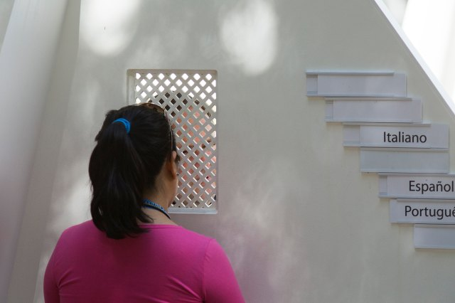 World Youth Day pilgrim goes to confession at park in Rio de Janeiro