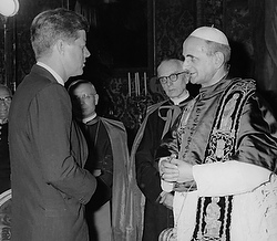President Kennedy meets Pope Paul VI in undated photo. (CNS)