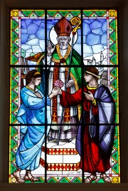 St. Valentine pictured in stained glass window at basilica in Terni, Italy