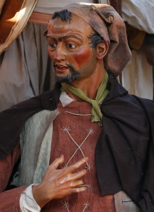 "A detail of ""The Beggar,"" a figure in the Nativity scene in St. Peter's Square. (CNS/Paul Haring)"