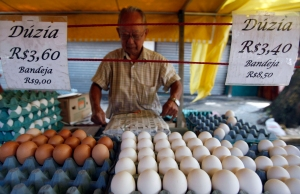 VENDOR WRAPS TRAY OF EGGS AT BRAZILIAN MARKET