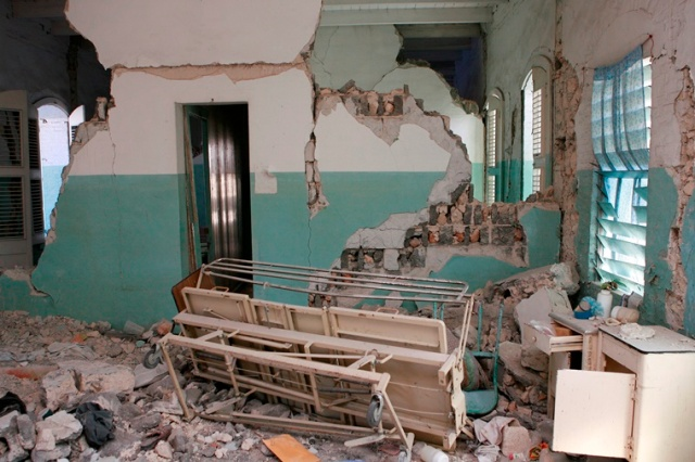 A bed is seen in a room at St. Francis de Sales Hospital in Port-au-Prince, Haiti, Jan. 30, 2010, weeks after it was destroyed by an earthquake. CNS/Bob Roller