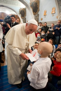 Pope receives letter from child as he visits Bambino Gesu children's hospital in Rome