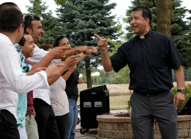 PRIEST ENGAGES YOUNG PEOPLE DURING EVENT AT ILLINOIS SHRINE IN JULY