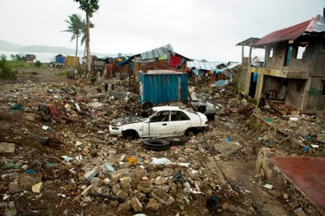 Devastation from November's Typhoon Haiyan still remains in Tacloban, Philippines. (CNS/Tyler Orsburn)