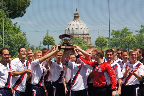 U.S. seminarians celebrate after winning Clericus Cup tournament in Rome