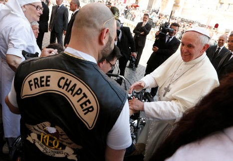 Pope greets Harley-Davidson biker after Mass at Vatican