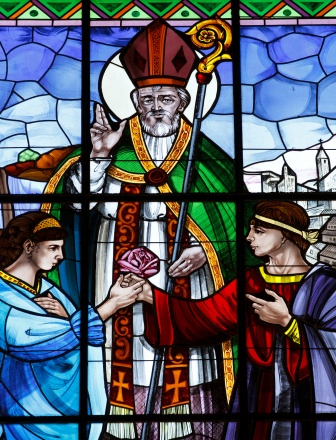 St. Valentine pictured in stained-glass window at basilica in Terni, Italy