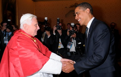 Pope Benedict XVI greeting U.S. President Barack Obama at the Vatican July 10, 2009. (CNS photo/L'Osservatore Romano via Reuters)