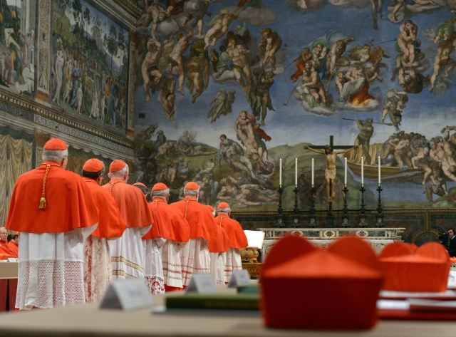 Cardinals seen in Sistine Chapel to begin conclave to elect successor to Pope Benedict at Vatican