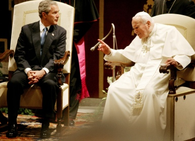 Former President George W. Bush with Pope John Paul II during a meeting June 4, 2004 at the Vatican. (CNS photo/Reuters)