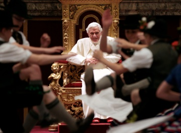 CHILDREN DRESSED IN TRADITIONAL BAVARIAN GARB DANCE FOR POPE BENEDICT ON 85TH BIRTHDAY