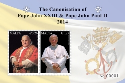 Malta's two-stamp souvenir sheet honoring the two new saints.