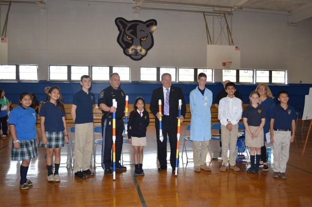 The Panther Power robotics team from Academy of Our Lady of Peace in New Providence, N.J. presented their Sticker for Safety to local safety forces earlier this year. (Courtesy Academy of Our Lady of Peace)