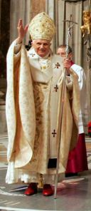 Pope Benedict XVI wearing the long pallium on Christmas Eve 2007. (CNS/pool)