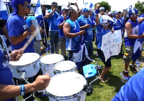 Salvadoran soccer fans gather outside Washington for a friendly with Spain before the World Cup. (CNS/TylerOrsburn)