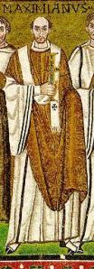 Archbishop Maximian in a 6th-century mosaic in Ravenna. (Wiki Commons)