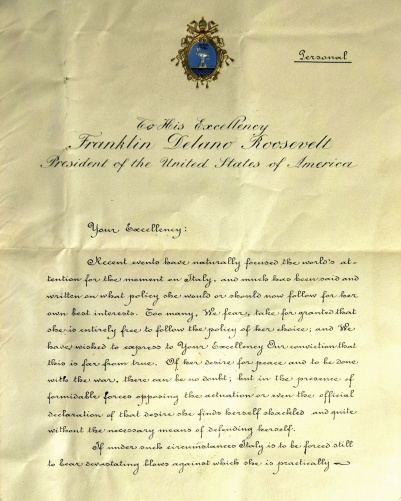 LETTER POPE PIUS XII WROTE TO US PRESIDENT FRANKLIN D. ROOSEVELT DISPLAYED IN EXHIBIT IN ROME