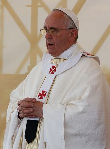 Pope Francis wearing the pallium with red crosses at Mass in southern Italy June 21. (CNS/Paul Haring)