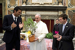 Gianluigi Buffon and Lionel Messi with Pope Francis last August. (CNS/L'Osservatore Romano)