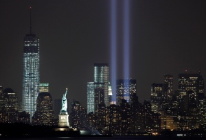 'Tribute of Light' illuminates New York on 2013 anniversary of 9/11. (CNS photo/Reuters)