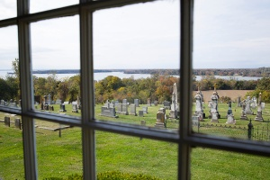 St. Ignatius cemetery seen from window in church foyer. (CNS photo/Tyler Orsburn)