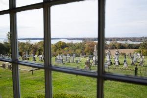 St. Ignatius cemetery seen from window in church foyer. (CNS photo/Tyler Orsburn)