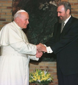 Pope John Paul II meets Cuban President Fidel Castro Jan. 22, 1998. (CNS/Reuters)
