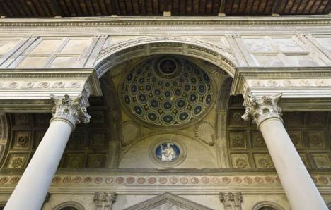 The 15th-century loggia of the Pazzi Chapel at the Basilica of Santa Croce is in urgent need of repair. (screengrab of video by Opera di Santa Croce)