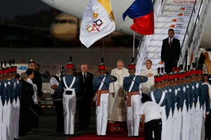 Pope Francis arrives at Villamor Air Base in Manila, Philippines