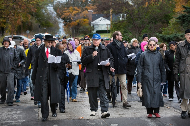 Missouri parishioners march after riots in Ferguson, Mo. (CNS photo)