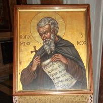 An icon of St. Nilus, who founded the abbey in 1004
