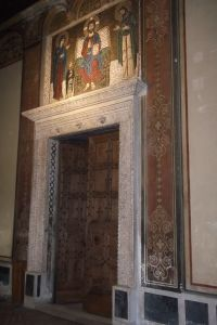 A 12th-century mosaic above the church's original doors