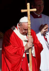 Pope Francis listens to the Gospel reading of the Passion. (CNS/Paul Haring)