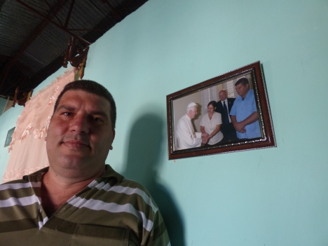 Omar Ramirez, a caretaker at a retreat house in the town of El Cobre, Cuba, fondly remembers Pope Benedict  XVI's visit. (CNS photo/ by Rhina Guidos)