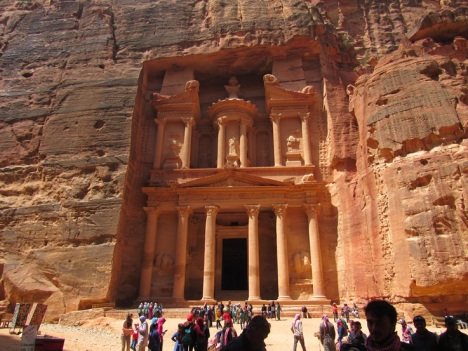 "The largest and most impressive of all the ruins in Petra, a funeral chamber known popularly known as ""The Treasury."" (CNS/Mark Pattison)"
