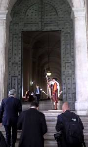 Walking up to the Bronze Doors.